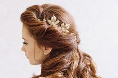 SOULMATES LEAF & RHINESTONE BRIDAL BOBBY SET   Erica Elizabeth Designs and Pretty Things Wedding Acccesories