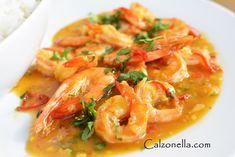 krewetki-w-sosie-pomarańczowym Thai Red Curry, Shrimp, Chili, Lunch, Meat, Ethnic Recipes, Food, Chile, Chilis