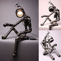 awesome Desk Light Lamps Home Decor Lighting Table Lamp Handmade Faucet Robot Light. Home Decor Lights, Light Decorations, Handmade Home Decor, Cheap Home Decor, Handmade Wire, How To Build A Lamp, Robots Vintage, Lampe Steampunk, Pipe Lighting