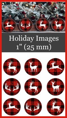 Bottle Cap Images - Buffalo Plaid theme with deer. These measure 25 MM inch) - - Excited to share the latest addition to my shop: Christmas Bottle Cap Images. Bottle Cap Art, Bottle Cap Crafts, Bottle Cap Images, Bottle Cap Jewelry, Christmas Cupcakes, Christmas Decorations, Christmas Ornaments, Decorating Ornaments, Plaid Christmas
