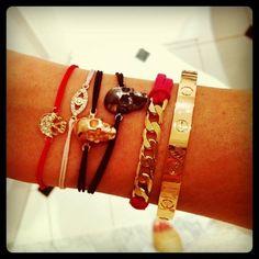 gunmetal skull + diamond skull + gold skull - W. Diamond Skull, Gold Skull, Skulls, Love Bracelets, Cartier Love Bracelet, Skull Fashion, Premier Designs Jewelry, Skull Bracelet, Arm Party