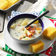 Potato Clam Chowder Recipe -I ran across this recipe in one of my antique cookbooks. It's a timeless classic I like to prepare for friends and family throughout the year, but especially during the holidays. Healthy Soup Recipes, Cooking Recipes, Amish Recipes, Easy Recipes, Clam Chowder Recipes, Red Lobster Clam Chowder Recipe, Red Lobster Baked Potato Recipe, Rhode Island Clam Chowder Recipe, Seafood Recipes