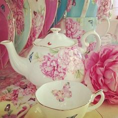 Teacup and Teapot with Butterflies