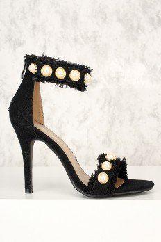 Sexy Black Denim Faux Pearl Distressed Open Toe Single Sole High Heels