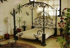 Home Decor: Elegant Fitted Bedrooms Furniture Fitted Bedroom Furniture, Fitted Bedrooms, Iron Furniture, Home Decor Furniture, Bedroom Sets, Bedroom Decor, Garden Bedroom, Steel Bed Frame, Wrought Iron Beds