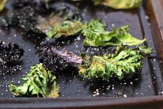 Crispy Baked Kale Chips Yields: 6 servings 1 bunch kale 1 tablespoon olive oil 1 teaspoon salt Preheat the oven to . De-stem the kale leaves and tear into pieces. Toss kale with olive oil and lay flat in single layer on baking sheet. Sprinkle with salt. Baked Kale Recipes, Paleo Recipes, Whole Food Recipes, Great Recipes, Favorite Recipes, Side Recipes, Healthy Menu, Healthy Cooking, Healthy Snacks