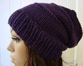 Beanie, Hat, Knit, Winter, Girls, Men, Women, Slouchy Beanie in Eggplant Purple Shabby Chic Hippie Style Fashion Hats