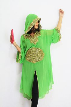 Moroccan Hoodie Green Tunic caftan dress Gold by aboyshop on Etsy, $49.99