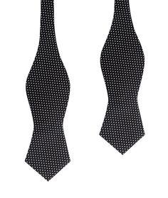 Men's Untied Point Bowtie Black Cotton with White Mini Polka Dots Self Tie Diamond Tip Bow Tie (C155-SDBT) Men Tuxedo Bowties Mens Ties Suit