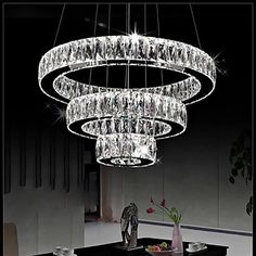 LED Crystal Pendant Lights Modern Lighting Three Rings D406080 K9 Large Crystal Hotel Ceiling Light Fixtures – USD $ 699.99