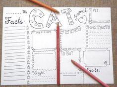 cat bujo journal pet crazy cat lady planner bujo gift idea list vet medicines health cat checklist printable cat download lasoffittadiste