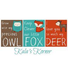 woodland forest animal nursery art print set decor, owl fox deer 8x10 set