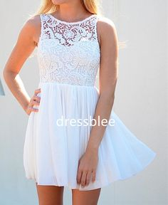 Chiffon & Lace Bridesmaid Dress, A-line Straps Scoop Short Lace/ Chiffon Bridesmaid Dress