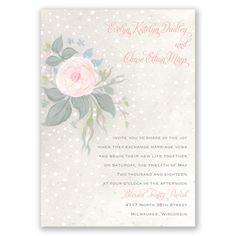 Snowy Rose Wedding Invitation at Invitations By Dawn
