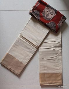Cotton sarees with kalamkari blouse
