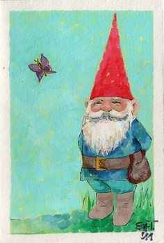 Gnome with butterfly Illustrations, Graphic Illustration, David The Gnome, Trolls, Elves And Fairies, Forest Friends, Christmas Gnome, Vikings, Fantasy World