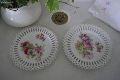 Vaisselle ancienne , assiettes décor roses shabby chic Brocante de charme atelier cosy.fr
