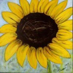 Bilder von Rosa | Acrylbild Sonnenblume Format: 70 x 70 x 2 cm Acrylmalerei:  Wandbild, Dekoration, Gemälde, Stillleben , Blumen, Kunst, Art , Acrylbild