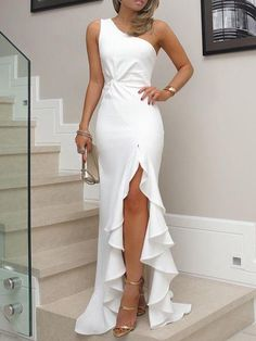 Sexy evening party dress Plus size one shoulder ruched ruffled bodycon dress Elegant ladies solid maxi dress vestidos Elegant Dresses, Sexy Dresses, Beautiful Dresses, Formal Dresses, Wedding Dresses, Wedding Shoes, Long Dresses, Summer Dresses, Wedding Bridesmaids