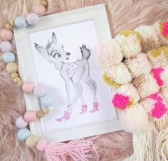 Doe in Boots is dressed to the nines in her bright pink boots with killer heels! This wide eyed sweety clippity clops her way around the forest making music as she walks. Our beautiful art prints are made with love from our original watercolour paintings and inkjet printed on 200GSM card. https://littleraeprints.com/collections/prints/products/doe-in-boots  #littleraeprints #doeinboots #watercolour #prints #bedroomdecor #childrensbedroomdecor #art
