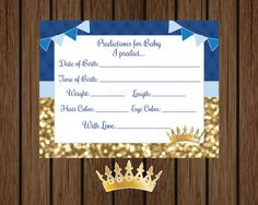 Prince Baby Shower Predictions for Baby, Prince Baby Stats Card, Boy Baby Shower, Blue and gold Prince, Shower Printable, Instant Download