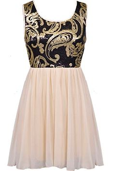 Paisley Princess Dress: Features a spellbinding paisley sequin bodice with black and gold swirls throughout, cinched empire waist for a figure-flattering effect, gathered chiffon skirt for a romantic touch, and a centered rear zip closure to finish.