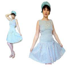 Seafoam Aqua Green Embroidered 1950s Drop waist Dress Vogue Adelaide 3d Rose Xs Layered Wedding Dresses, 3d Rose, Rhinestone Dress, Windsor Dresses, Yellow Lace, Rose Dress, Green Print, Drop Waist, Vintage Outfits