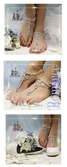 "something blue wedding fashion: barefoot sandals, wedding shoes wedding, foot jewelry, beach wedding, bridal ""PIN this pretty for later!'"
