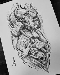 Clock Tattoo Design, Forearm Tattoo Design, Tattoo Design Drawings, Tattoo Sketches, Tattoo Designs, Bull Tattoos, Badass Tattoos, Leg Tattoos, Body Art Tattoos