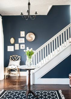 There's nothing a good blue can't do! Take a look at this DIY project by Erin from @earnesthomeco. She wanted to give her entryway a refresh from the khaki color it was before, so she went with Naval SW 6244 for a positive blue. Its neutral undertones were perfect for her brown and black décor, white woodwork and dark walnut floors. Beautiful blues are always a warm welcome.