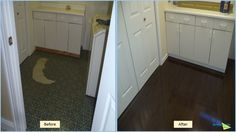 Flood water damage is very common in laundry rooms. Here, we removed the water damaged vinyl floor, completed the drying process and rebuilt the laundry room with new wood floors