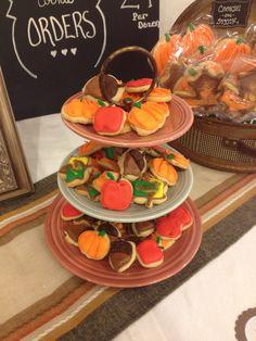Fall, harvest, pumpkin, leaf, apple, mini cut out cookies