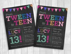 Custom Printable Tween To Teen Girl's Thirteen Birthday Party Invitation – Chalkboard with Colorful Party Banner – Digital – Party Ideas 13th Birthday Party Ideas For Girls, Teen Girl Birthday, Birthday Party Design, 13th Birthday Parties, Birthday Gifts For Teens, Birthday Crafts, Birthday Party Themes, Birthday Nails, Husband Birthday
