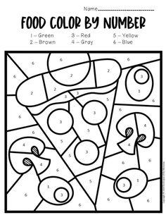 colornumber food preschool worksheets in 2020