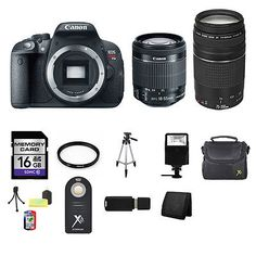 Canon EOS Rebel T5i/700D DSLR Camera w/18-55mm, 75-300mm, 16GB & More - BUY NOW ONLY 654.03
