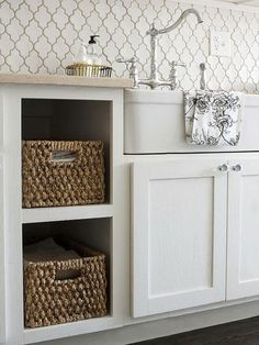 Remove cupboard doors and add storage baskets