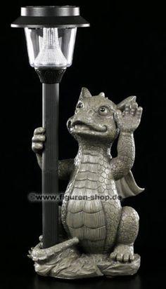58,50e Garten-Figur-Drache-mit-Solarlampe-Lampe-Deko-Statue-Dragon-Lamp-Solar