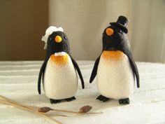Penguins Cake Topper  Needle Felted Wedding Cake by felttess
