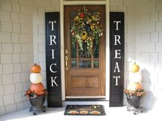 Trick or Treat Shutters for Halloween, Trick or Treat Shutters and Pumpkin Topiary on my Front Porch. Makes a graphic statement and easy to do in less than 2 hours., This is a quick and easy idea for your front porch: painted shutters (actually re-purposed bi-fold closet doors) and pumpkin topiaries. This has an instant, graphic impact!, Porches Design by betty