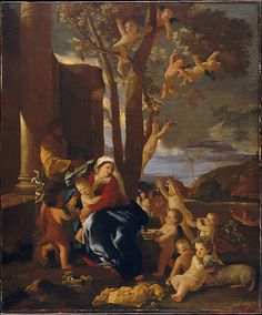 This tenderly poetic picture reveals a side of Poussin not otherwise represented by the Museum's splendid holdings of this artist. During the 1620s Poussin was especially attracted by Venetian painting, studying Titian's great mythological compositions, some of which were in aristocratic collections in Rome