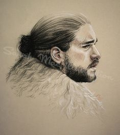 Jon Snow, King in the North and heir to the Iron Throne. Drawn using charcoal and pastels. Game Of Thrones Drawings, Framed Prints, Canvas Prints, Art Prints, Game Of Trones, King In The North, Iron Throne, Drawing Stuff, Art Boards