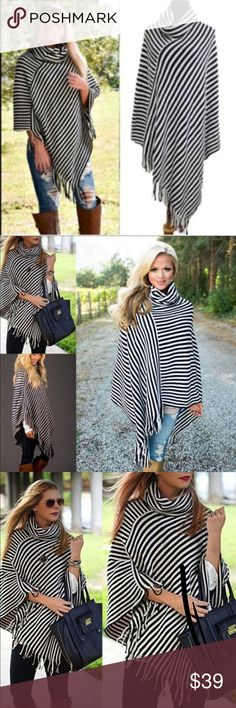 Black & White Poncho Very nice fall poncho. Great for a Nice outing top. 100% Acrylic. Sweaters Shrugs & Ponchos
