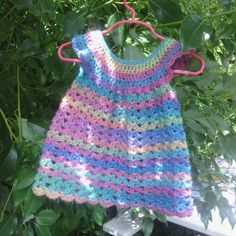 Rainbow Angel Wings Pinafore - crochet toddler dress