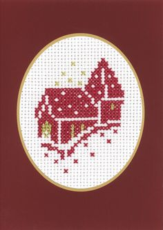 Church Christmas Card Counted Cross Stitch Kit manufactured by Permin of Copenhagen Regular retail price - our discounted price approximate size is x kit includes: aida, threads, needle, pattern and instructions card . Cross Stitch Christmas Cards, Xmas Cross Stitch, Cross Stitch Cards, Counted Cross Stitch Kits, Christmas Cross, Cross Stitch Embroidery, Cross Stitch Patterns, Celtic Cross Stitch, Cross Stitch Sea