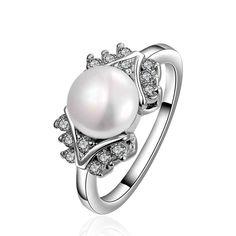 fashion bijuterias wedding ring crystal simulated pearl charms jewellry womens rings NPLR015