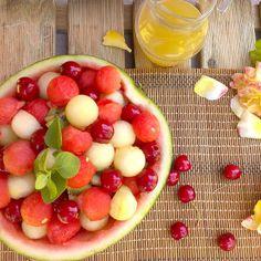 Fruit salad with honey-lemon dressing