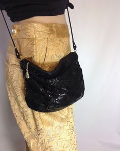 Vintage WHITING DAVIS Purse / Small Black by sixcatsfunVINTAGE