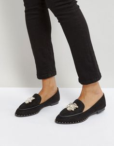 Get this QUPID's flat shoes now! Click for more details. Worldwide shipping. Qupid Jewel Trim Flat Shoe - Black: Shoes by Qupid, Faux-suede upper, Slip-on style, Embellished design, Apron toe, Studded trim, Flat sole, Wipe with a damp cloth, 100% Textile Upper. (zapatos planos, sin tacón, plano, sin tacon, flat, flache schuhe, zapatos planos, chaussures plates, scarpe basse, planos)
