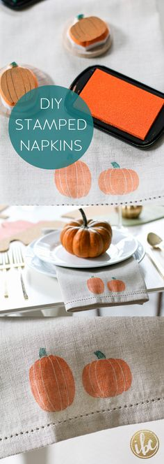 Anytime I'm shopping at HomeGoods, I always check out the table linens. With just a few quick steps I turned these plain tan napkins into something special for the season. *sponsored pin*