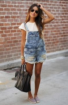 Jean overalls, white shirt and flats